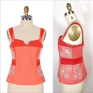 Anthropologie Floreat iobata corset orange tank
